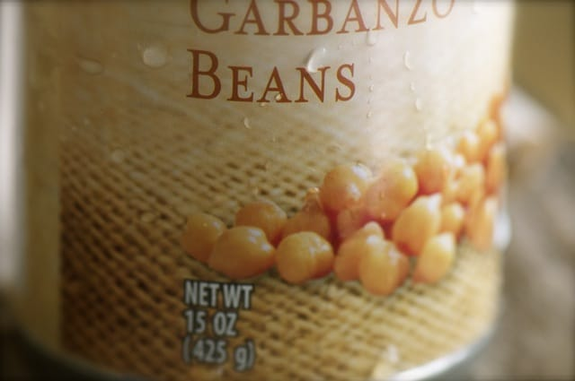 A photograph of canned chickpeas or garbanzo beans