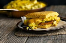 Gluten Free Biscuit with A smoky glazed sweet potato and cheesy tofu scramble